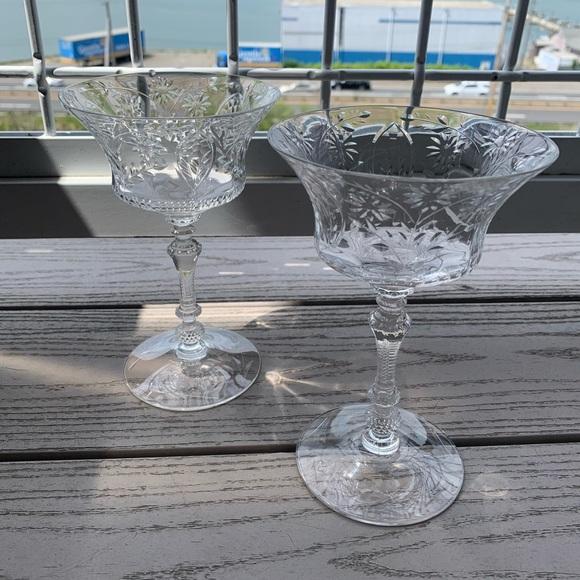 Vintage set of 2 Crystal Glasses Martini or Wine